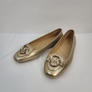 Michael Kors Lillie Leather Moccasin Flats (Gold)